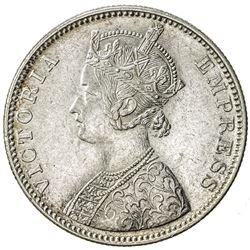 BRITISH INDIA: Victoria, Empress, 1876-1901, AR rupee, 1887-B. EF-AU