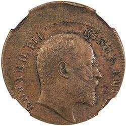 BRITISH INDIA: Edward VII, 1901-1910, AE 1/4 anna, 1903(c). NGC AU53
