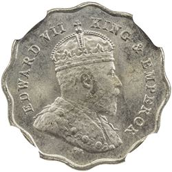 BRITISH INDIA: Edward VII, 1901-1910, anna, 1907-B. NGC MS65