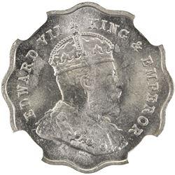 BRITISH INDIA: Edward VII, 1901-1910, anna, 1910-B. NGC MS65
