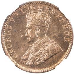 BRITISH INDIA: George V, 1910-1936, AE 1/4 anna, 1916(c). NGC MS64