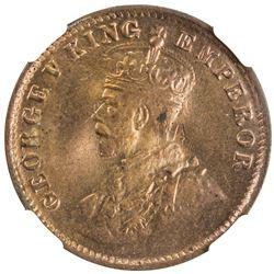 BRITISH INDIA: George V, 1910-1936, AE 1/4 anna, 1920(c). NGC MS64