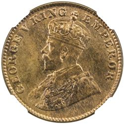 BRITISH INDIA: George V, 1913-1936, AE 1/4 anna, 1924(b). NGC MS65
