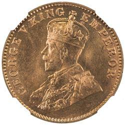 BRITISH INDIA: George V, 1910-1936, AE 1/4 anna, 1927(b). NGC MS65
