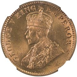 BRITISH INDIA: George V, 1910-1936, AE 1/4 anna, 1935(b). NGC MS67