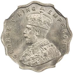 BRITISH INDIA: George V, 1910-1936, copper nickel anna, 1924(b). NGC MS64