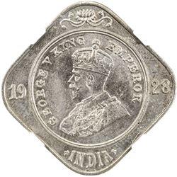 BRITISH INDIA: George V, 1910-1936, 2 annas, 1928(b). NGC MS64