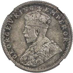 BRITISH INDIA: George V, 1910-1936, AR 1/2 rupee, 1914(b). NGC MS65