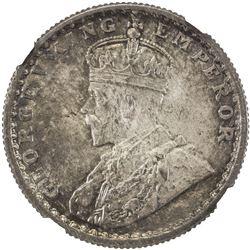 BRITISH INDIA: George V, 1910-1936, AR 1/2 rupee, 1921(c). NGC MS65
