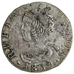 GOA: Maria II, 1834-1853, AR rupia, 1839. NGC AU50