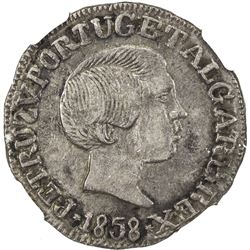 GOA: Pedro V, 1853-1861, AR rupia, 1858. NGC AU50