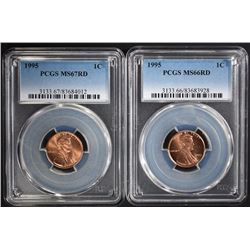 (2) 1995 LINCOLN CENTS, PCGS MS-67 RD & MS-66 RD