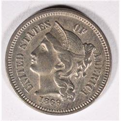 1869 3-CENT NICKEL, BU