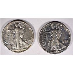 2-1942-S WALKING LIBERTY HALF DOLLARS, CH BU