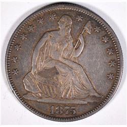 1875 SEATED LIBERTY HALF DOLLAR AU/UNC