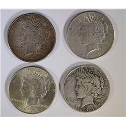 1934-D, 35, 26-S & 25 CIRC PEACE DOLLARS