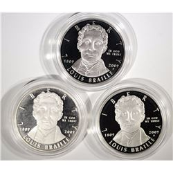 (3) 2009 Louis Braille Proof Silver Dollars