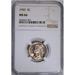 1950 JEFFERSON NICKEL NGC MS66