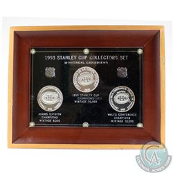 1993 Montreal Canadiens Stanley Cup Limited Edition Collectors Set in Hard Plastic and Wooden Frame.