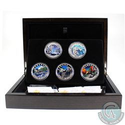 2016 Canada $20 Geometry in Art Series Full 5-Coin Fine Silver Set - The Loon, Beaver, Caribou, Mapl