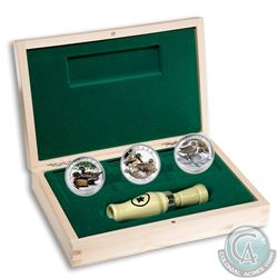2013-2014 $10 Ducks of Canada 3-Coin Fine Silver Set in Deluxe Display Box with Duck Caller (capsule