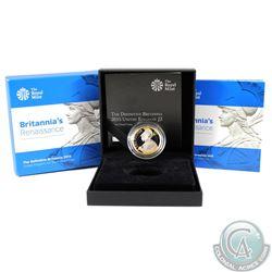2015 United Kingdom 2 Pound Britannia's Renaissance the Definitive Britannia Sterling Silver Gold Pl