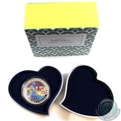 2015 Niue $2 Love is Precious - Peafowl's 1oz Fine Silver Coin (capsule is scuffed). TAX Exempt
