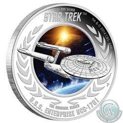 2015 Tuvalu $1 Star Trek: The Original Series U.S.S. Enterprise NCC-1701 Fine Silver 1oz Proof Coin