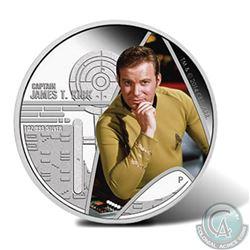 2015 Tuvalu $1 Star Trek: The Original Series Captain James T. Kirk Fine Silver 1oz Proof Coin (caps