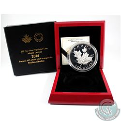 2014 Canada $50 Maple Leaves 5oz. Fine Silver Coin (capsule is scratched & outer sleeve lightly worn