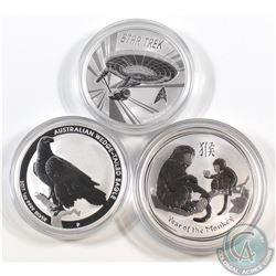 2016 Australia $1 Year of the Monkey, 2017 Australia $1 Wedge-Tailed Eagle & 2016 Tuvalu $1 Star Tre