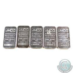 Lot of 5x Johnson Matthey 1oz .999 Fine Silver Bars. 5pcs (TAX Exempt)