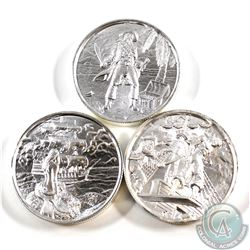 Lot of 3x Privateer Series Ultra High Relief 2oz .999 Fine Silver Coins - The Captain, The Plank & T