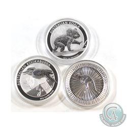 Lot of 3x 2016 Australia 1oz .999 Fine Silver Coins in Capsules - Kangaroo, Koala & Kookaburra (caps