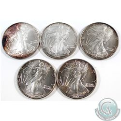 1987, 1988, 1993, 2006 & 2008 American Eagle 1oz .999 Fine Silver Coins (coins are toned). 5pcs (TAX