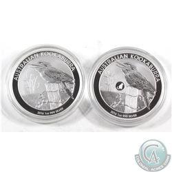 2016 Australia Kookaburra & Kookaburra Monkey Privy 1oz .999 Fine Silver Coins (capsules lightly scr
