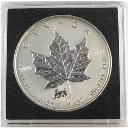 1998 Canada Tiger Privy 1oz. Fine Silver Maple Leaf (lightly toned & lightly scratched). TAX Exempt