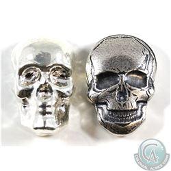 2oz & 3oz Monarch Precious Metals Skull Designs. 2pcs (TAX Exempt)