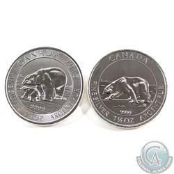 2013 & 2015 Canada $8 1.5oz Polar Bear .9999 Fine Silver Coins. 2pcs (TAX Exempt)