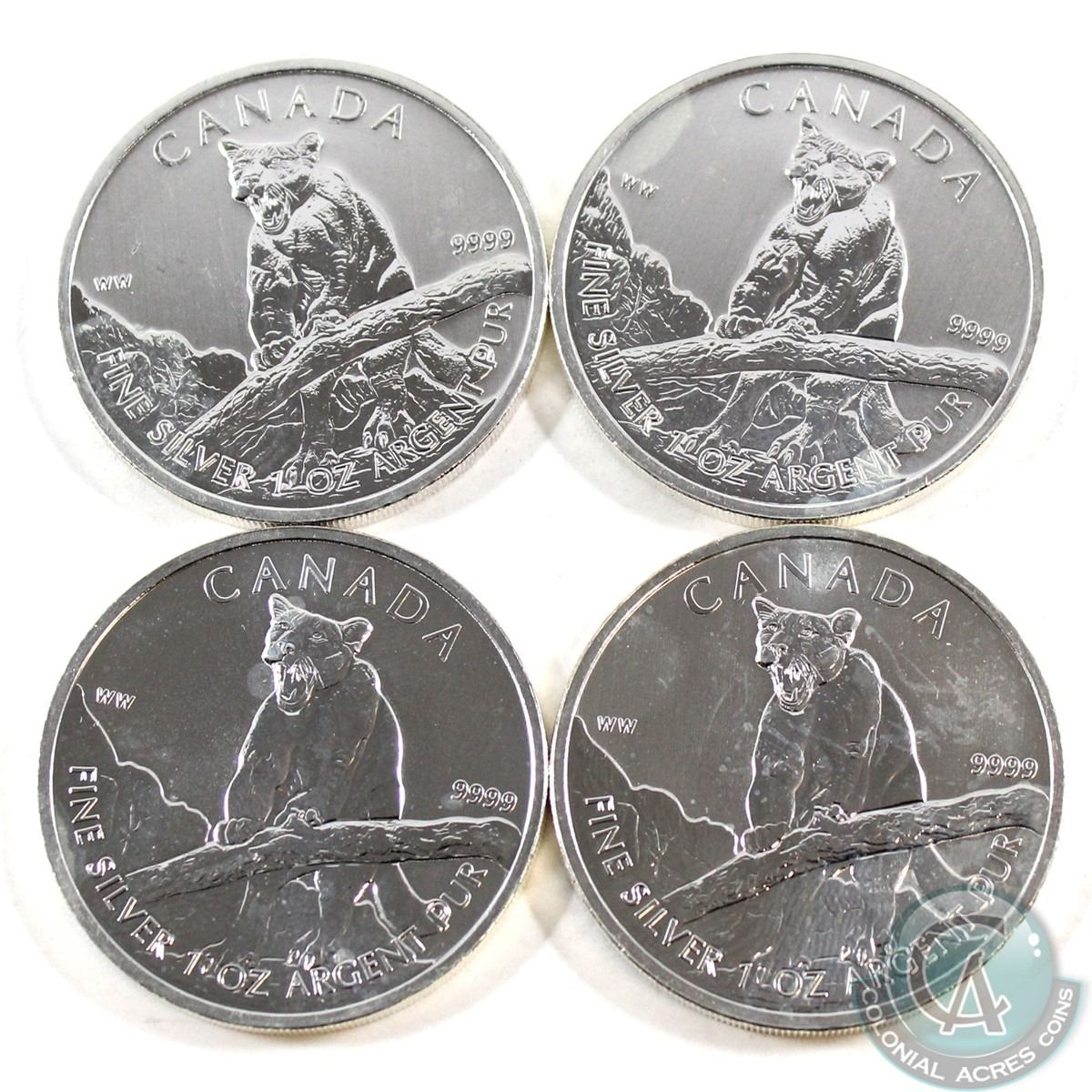 Lot of 5-2012 $5 1oz Silver Canadian Cougar .9999 BU