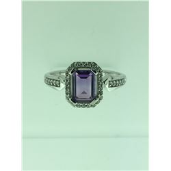 Michigan – Emerald Cut Amethyst and Diamond Ring