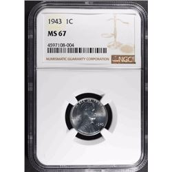 """1943 LINCOLN """"STEEL"""" CENT, NGC MS-67"""