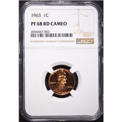 1963 LINCOLN CENT, NGC PF-68 RED CAMEO