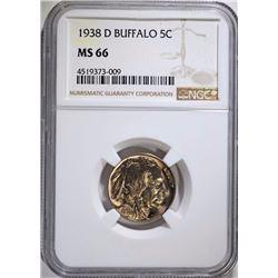 1938-D BUFFALO NICKEL, NGC MS-66 -SUPERB