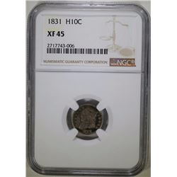 1831 CAPPED BUST HALF DIME, NGC XF-45