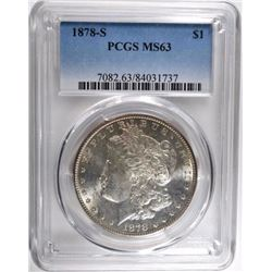 1878-S MORGAN DOLLAR, PCGS MS-63