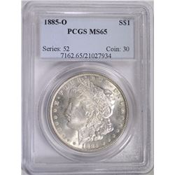 1885-O MORGAN DOLLAR, PCGS MS-65 GEM