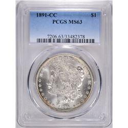 1891-CC MORGAN DOLLAR, PCGS MS-63 WHITE!!!