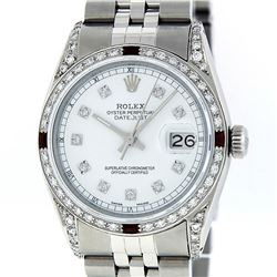 Rolex Mens Stainless Steel White Diamond Lugs And Ruby Datejust Wristwatch