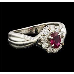 0.39 ctw Ruby and Diamond Ring - Platinum